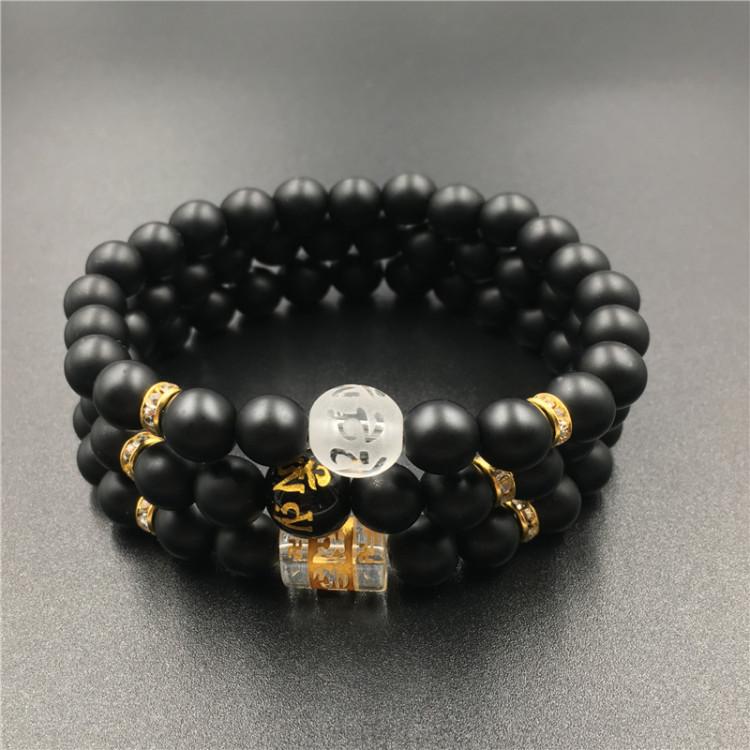 2017 New Design DIY Matte Black Natural Stone Mantra Beads Buddha ...