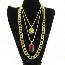 Golden Bling Rhinestone Miami Cuban  stone  Angel Necklaces Pendants Set Women Men Hip Hop Jewelry Gifts Chains