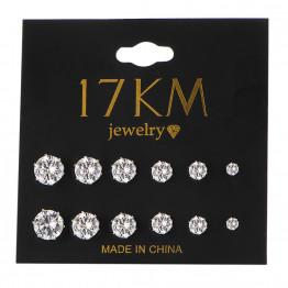 17KM Fashion 6 Pair/set Punk Accessories Crystal Stud Earrings Set For Women Round Flower Fashion Design Brincos Jewelry Bijoux