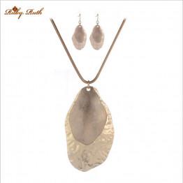2016  Jewelry Sets Fashion wedding  necklace earing dubai sieraden women Smooth lassa 18 k Rose Gold Color set jewelry