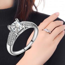 2017 Fashion Jewelry Elegant Ring For Women Engagement Wedding Female Silver White Zircon Rings Jewelry Luxury Design Size 6-10