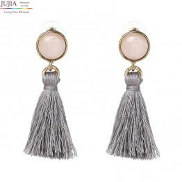 2017 JUJIA New tassel earring high quality women fashion design stone statement stud Earrings for women