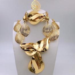 2017 Leaf shape African Beads Jewelry Set arabic gold jewelry Dubai jewelry set women