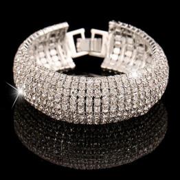 2017 New Design Romantic Women Jewelry Bangle Elastic Stretchy 7 Row Rhinestone Crystal Bracelet Bangle Bridal Jewellery Pulsera