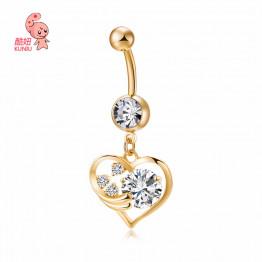 2017 New Hot Luxury Zircon Crystal Heart Belly Button Rings Women Body Jewelry Gold Zircon CZ Navel Piercing Belly Piercing 238