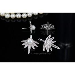 2017 Trends CWW Brands Cubic Zircon Stone Paved Double Pearl Earrings For Women Sterling Silver 925 Jewelry CZ351