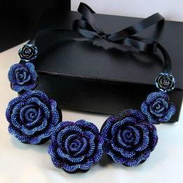 2017 Unique Design Fashion Bohemia Style Blue/Green/Yellow Alloy Big Flower Pendant Necklace Elegant Women Statement Necklaces
