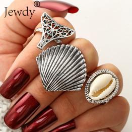3 PCS/Lot Vintage Big Elephant Shell Knuckle Rings Fashion Mermaid Midi Ring Set for Women Statement Jewellery