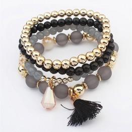 4Pcs/Sets Women's Fashion Jewelry Bangles 2017 New Design Multilayer Beads Elastic Bracelets with Tassels Wristband Wholesale