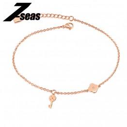 7SEAS Cute Key & Lock Chain Anklet For Women Clover Design Rose Gold Color Never Fade Leg Bracelet Foot Jewelry Anklets ,JM026