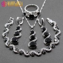 Amazing 925 Sterling Silver Women 4PCS Jewelry Sets Black Zircon Zircon Bracelet/Earrings/Pendant/Necklace/Ring Free Gift JS01