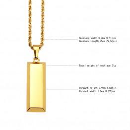 Charms Jewelry Gifts Men Women Bling  Golden Cube Bar Bullion Necklaces Pendants Night Bar Cliub Hip Hop Chains
