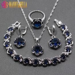 Cheap 4PCS Women Jewelry Sets 925 Sterling Silver Blue Cubic Zirconia Earring Pendant Necklace Bracelet Ring Free Gift JS63