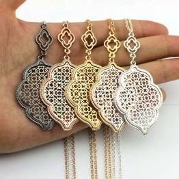Designer Long Necklace 2017 Hot Sale Hollow Patterned Bay Clover Statement Necklace for Women
