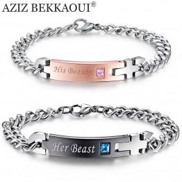 Drop Shipping Unique Gift for Lover Couple Bracelets Stainless Steel Bracelets For Women Men Jewelry Customized Named Bracelet