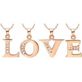 Hot Letter A B C D E F G H I J K L M N O P Q R S T U V W X Y Z Crystal Alphabet Jewelry 18 k Rose Gold Colou Pendant Necklace