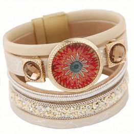 LEMOER 2017 Designer Enamel Flower Gem Magnetic Leather Bracelets&Bangles Wrap Bracelet bileklik Jewelry for Women pulseras Gift