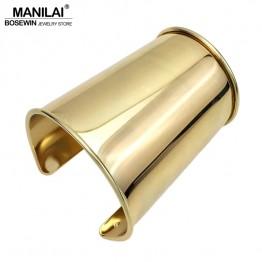 MANILAI 2017 Simple Design Smooth Alloy Cuff Bracelets For Women Statement Jewelry Classic Big Bangle Manchette Accessories