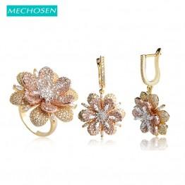 MECHOSEN Elegant Flower Drop Earrings Ring Set Luxury AAA Zirconia Women Bridal Wedding Jewelry Sets Rose Gold Color Brinco Anel