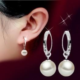 New Arrival 925 Sterling Silver Shining CZ Crystal Pearl Ear Studs Earrings Jewelry Joyme Jewelry