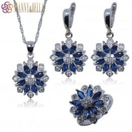 Occident 925 Sterling Silver Jewelry Set For Women Flower Blue Zircon Earrings/Pendant/Necklace Chain/Ring TZ113