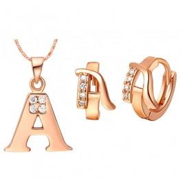 Women Men A B C D E F G H I J K L M N O P Q R S T U V W X Y Z 26 Letter Pendant Necklace Crystal Jewelry 18 k Rose Gold Colou
