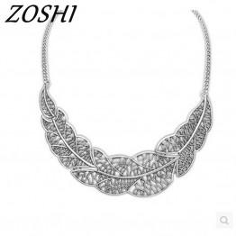 ZOSHI Jewelry wholesale Vintage Leaf Pednats Statement Necklace For Woman 2017 New design collar necklaces & pendants Sale